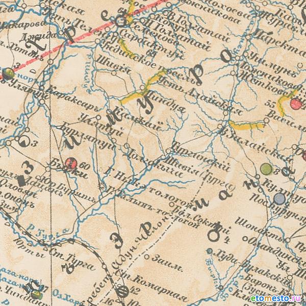 Геологическая карта Восточной Сибири Реутовского 1905 г. - Фрагмент