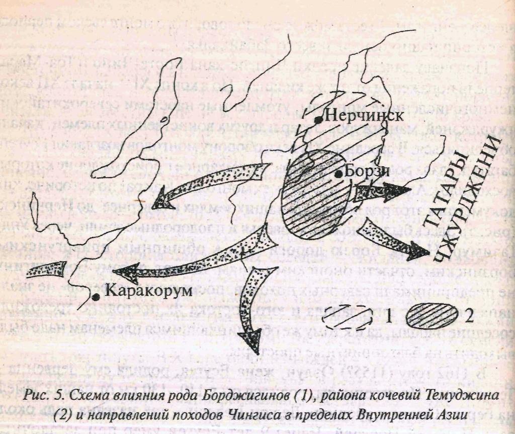 Схема влияния рода Борджигинов - Наш дом (история и природа Борзинского района)